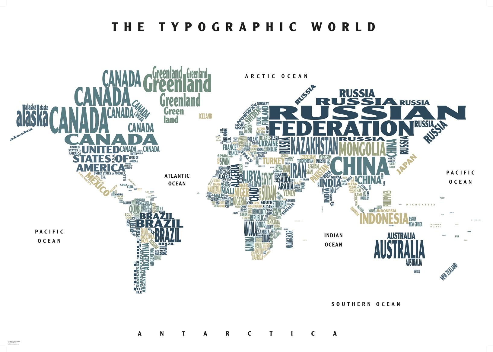 Graphic Map World - colours, white background