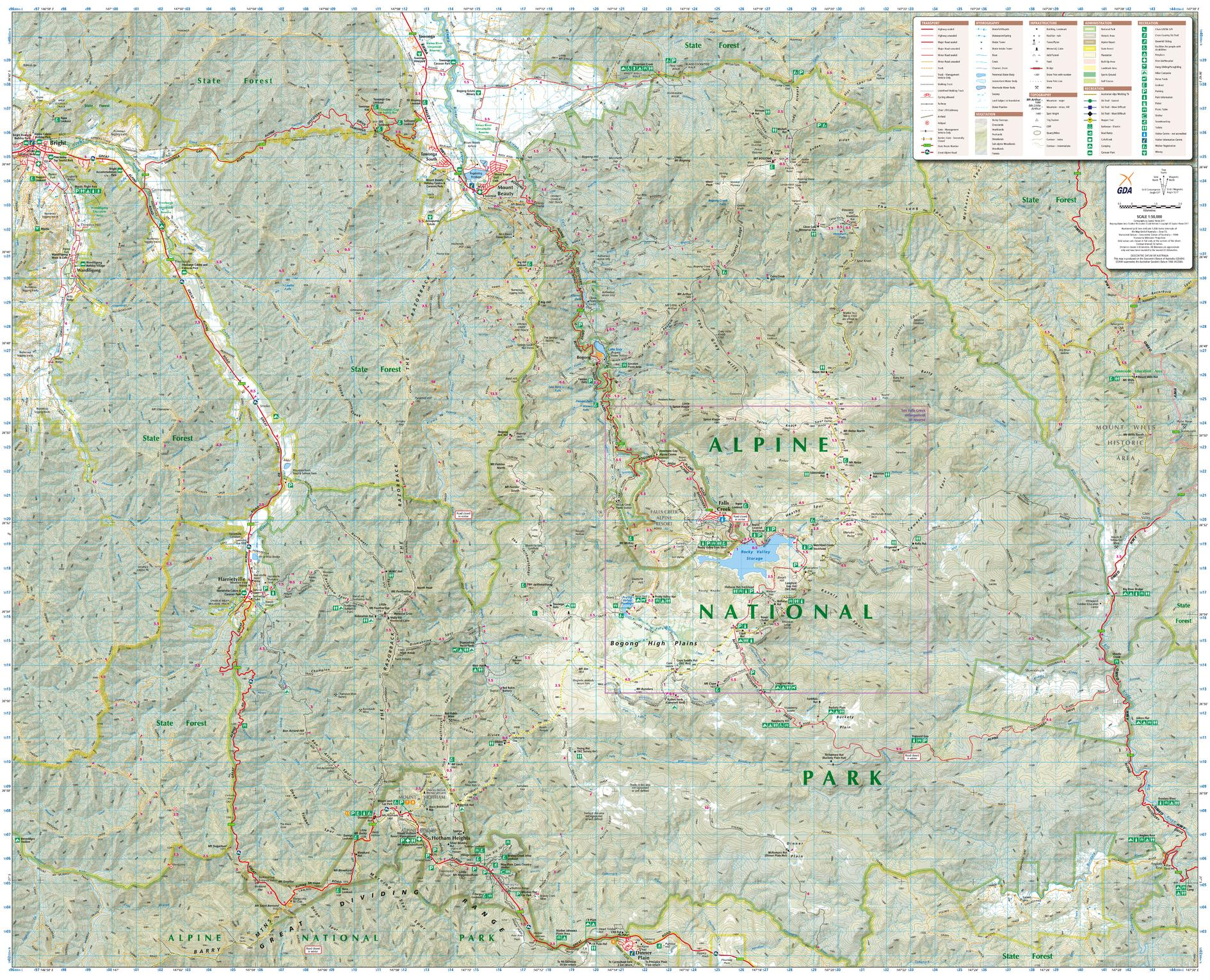 Bogong Alpine Area, Victoria Topographic Map