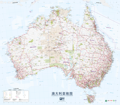 Australia Poster Map in Chinese