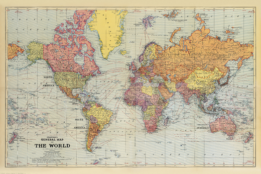 Stanford's General Map of the World (1920)