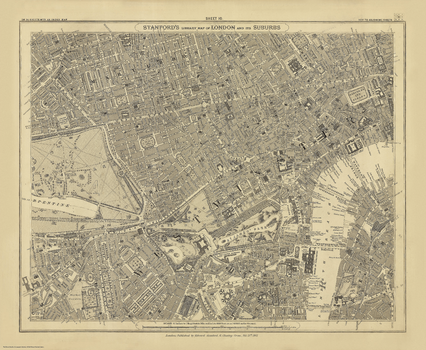 Stanford's Library Map of London Sheet 10 Black and White (1862)