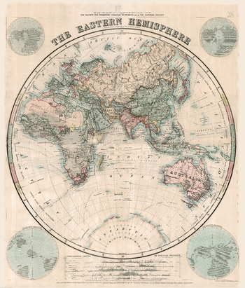 Stanford's Eastern Hemisphere Map (1877) - Resized to 2A0 width