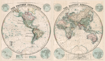 Stanford's Eastern and Western Hemispheres Map (1877) - Resized to 2A0 height