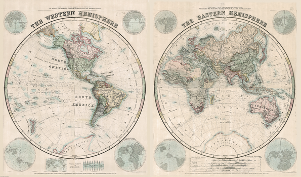 Stanford's Eastern and Western Hemispheres Map (1877)