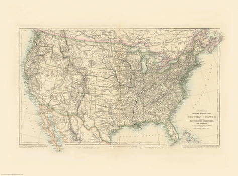 Stanford's Folio Smaller Railway Map of the United States (1876)