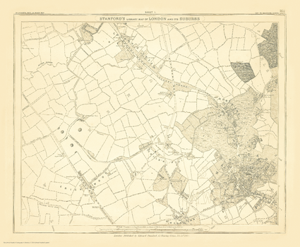 Stanford's Library Map of London Sheet 1 Black and White (1862)