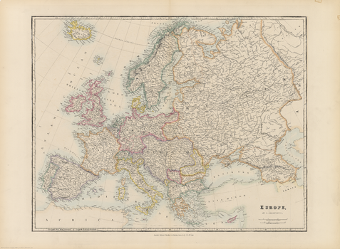 Stanford's Folio Europe Map, by J. Arrowsmith (1884)