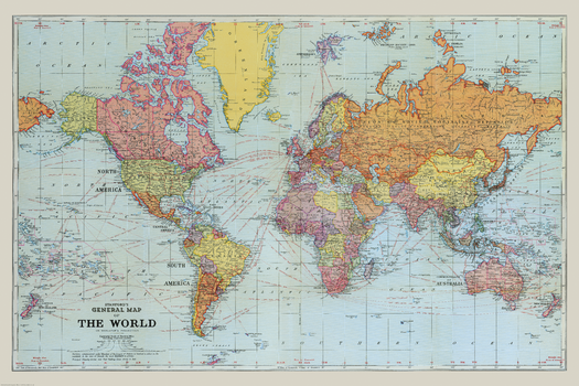 Stanford's General Map of the World (1920) Blue Version