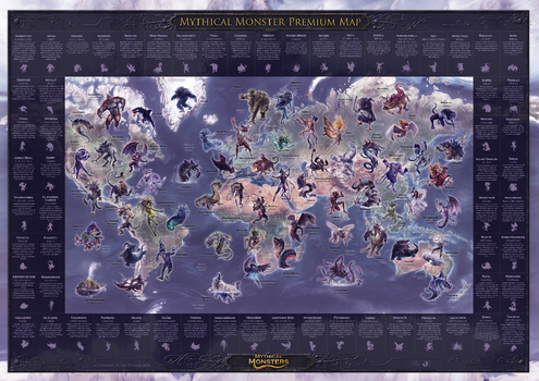 Mythical Monster Premium Wall Map - Medium