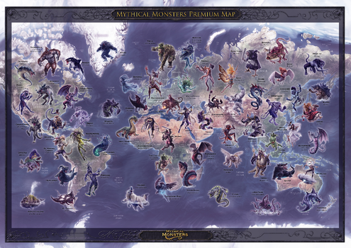 Mythical Monster Premium Wall Map - Poster