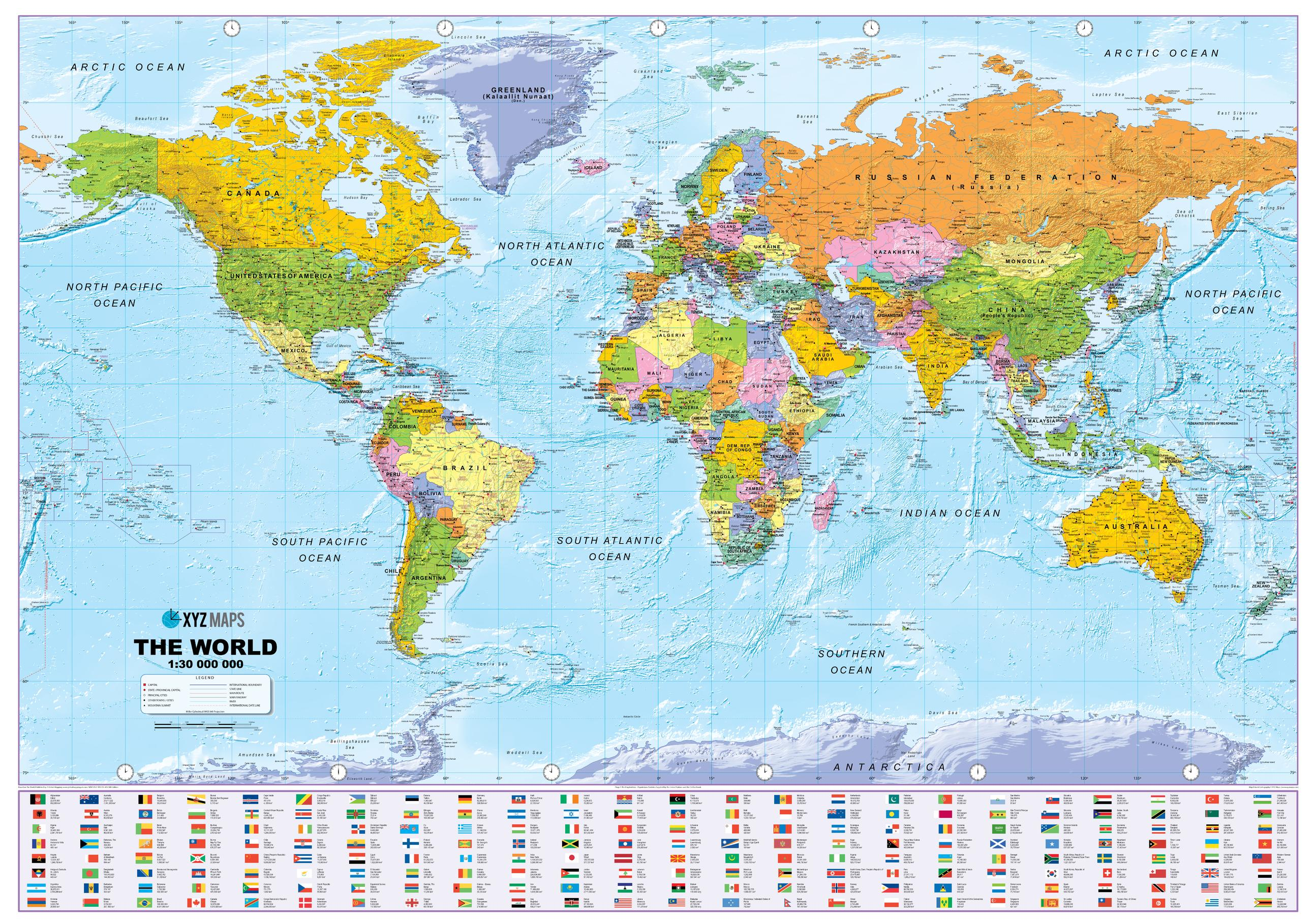 Scotland On World Map Scottish Large World Political Wall Map