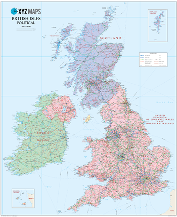 Scottish British Isles Political Wall Map