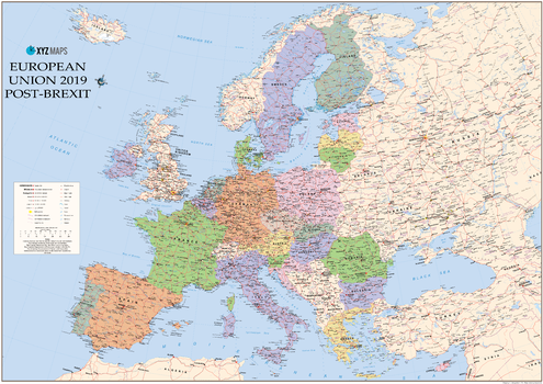 European Union 2019 Post Brexit Wall Map