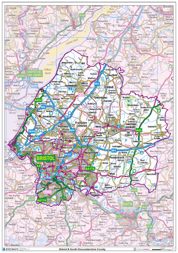 Bristol & South Gloucestershire County Map