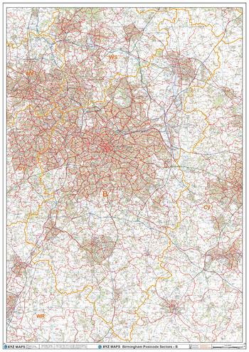 Birmingham - B - Postcode Wall Map