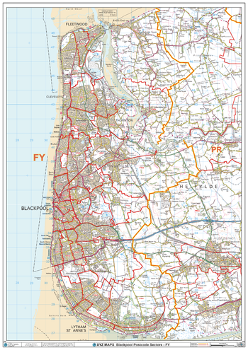 Blackpool - FY - Postcode Wall Map