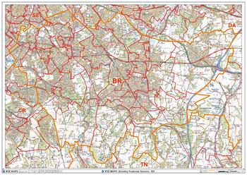 Bromley - BR - Postcode Wall Map