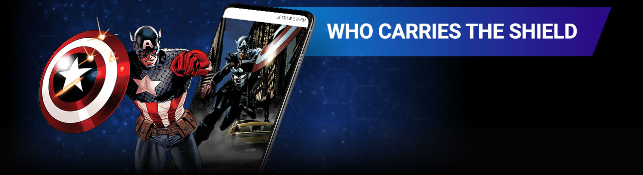 Who Carries The Shield. Image of Captain America beside screenshot of a comic page within the app.