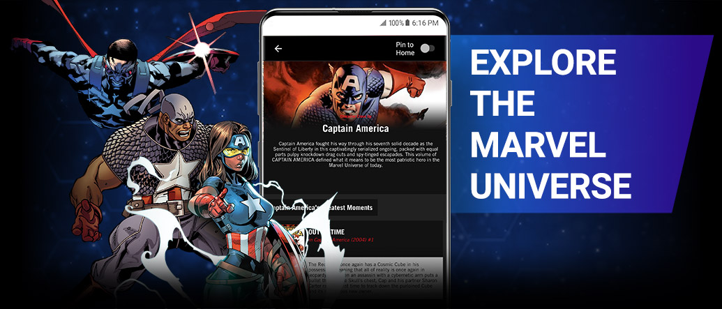 Explore The Marvel Universe. Sam Wilson, Isaiah Bradley, and Danielle Cage next to a screenshot of a Captain America reading list on the app.