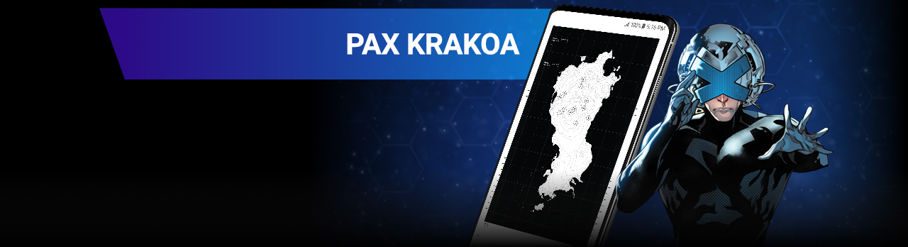 Pax Krakoa. Professor X beside a screenshot of the map of Krakoa.