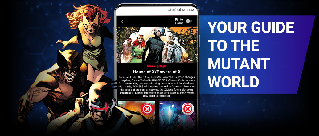Your Guide To The Mutant World. Wolverine, Jean Grey, and Cyclops next to a screenshot of the app.
