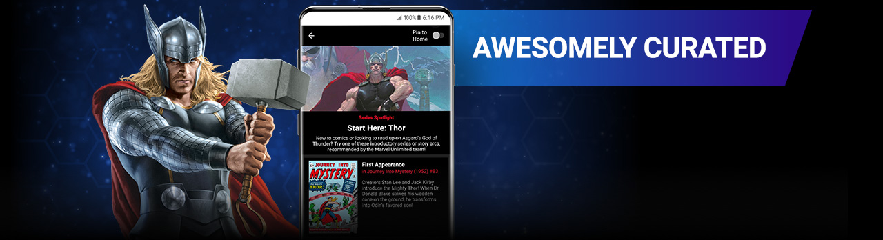 Awesomely Curated. Thor with Mjolnir next to a screenshot of a reading list on the app.