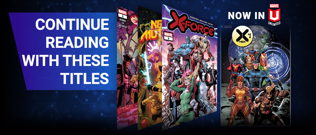 Continue Reading With These Titles. Covers of various comics that are now available to read in Marvel Unlimited.