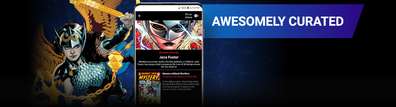 Awesomely Curated. Valkyrie Jane Foster with Mjolnir next to a screenshot of a Jane Foster reading list on the app.