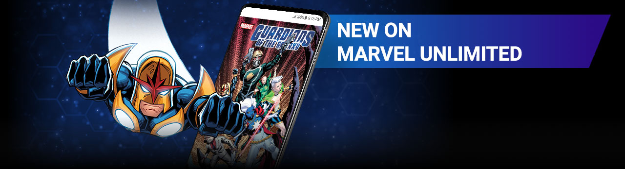 New On Marvel Unlimited. Image of Nova flying beside screenshot of a comic page within the app.