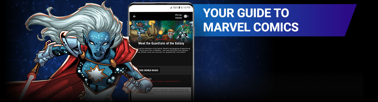 Your Guide to Marvel Comics. Image of Phyla-Vell next to a screenshot of the app.