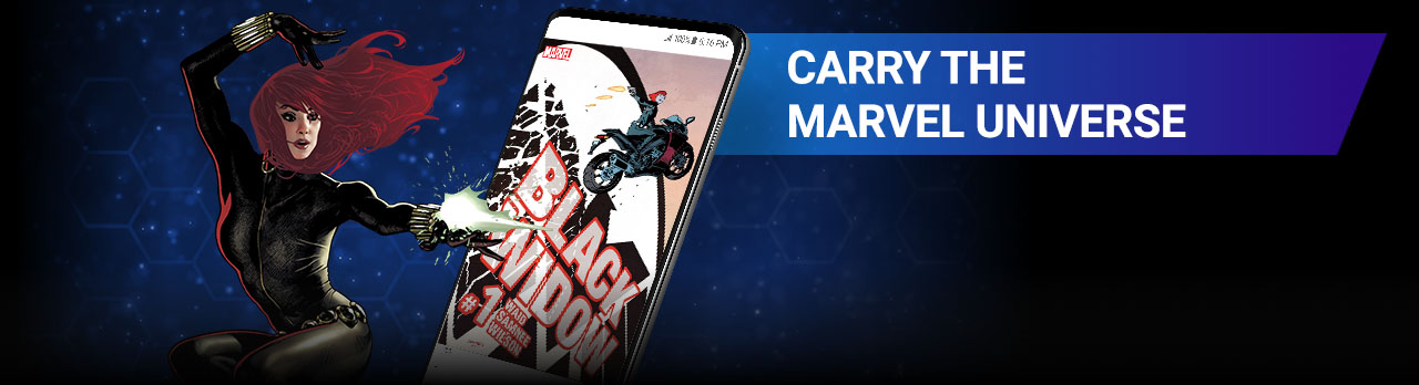 CARRY THE MARVEL UNIVERSE. Gain instant access to over 28,000 comics in your pocket, from Natasha Romanoff's first appearance to her current run. Black Widow with comic covers.
