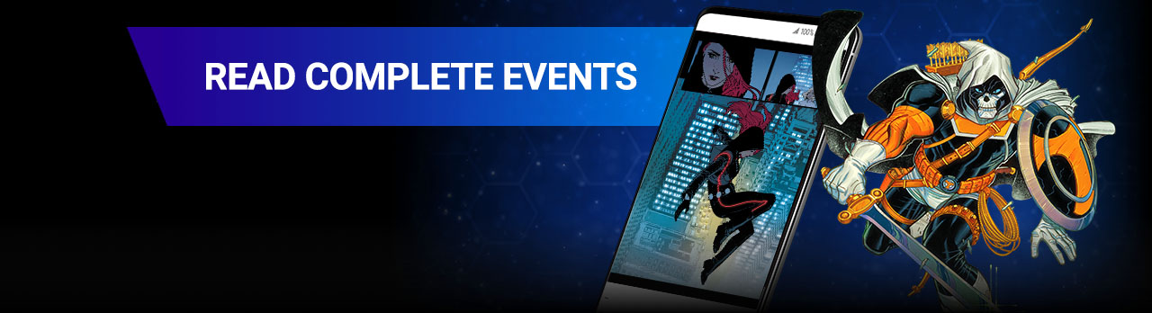 READ COMPLETE EVENTS. From CIVIL WAR to INFINITY WARS, follow the biggest blockbuster events starring the Avengers, the X-Men, and more. Red Guardian with comic covers.