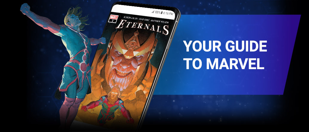 YOUR GUIDE TO MARVEL. Image of Ikaris beside screenshot of a comic page within the app.