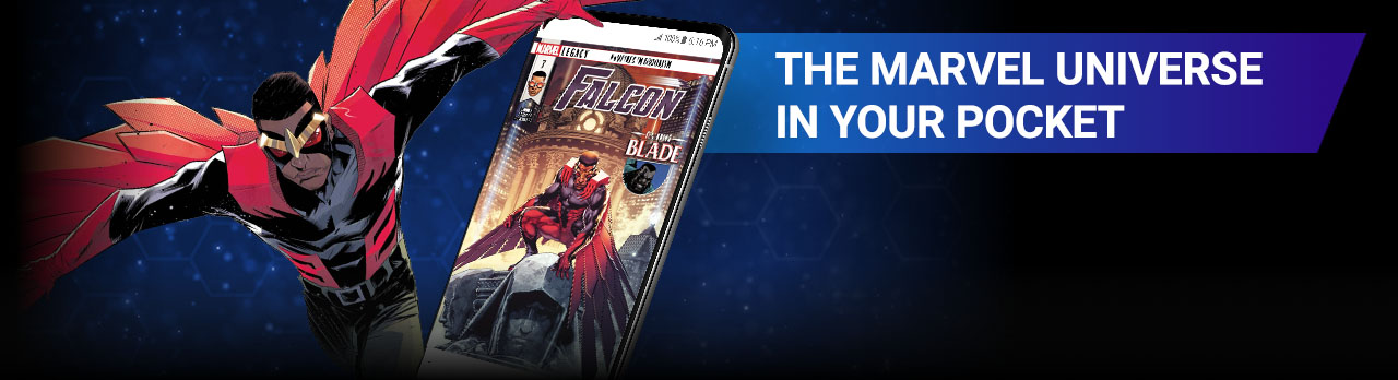 THE MARVEL UNIVERSE IN YOUR POCKET. Image of Falcon beside screenshot of a comic page within the app.