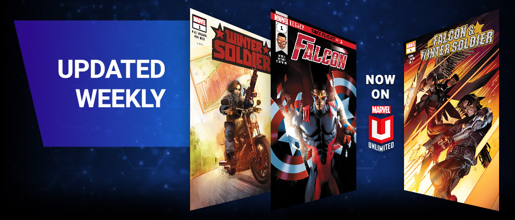 Updated Weekly. Three comic covers Winter Soldier, Falcon and Falcon & Winter Soldier.