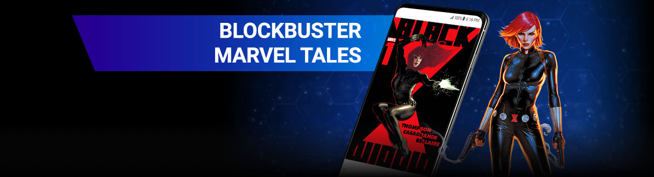 Blockbuster Marvel Tales. Black Widow next to an image of a cell phone.