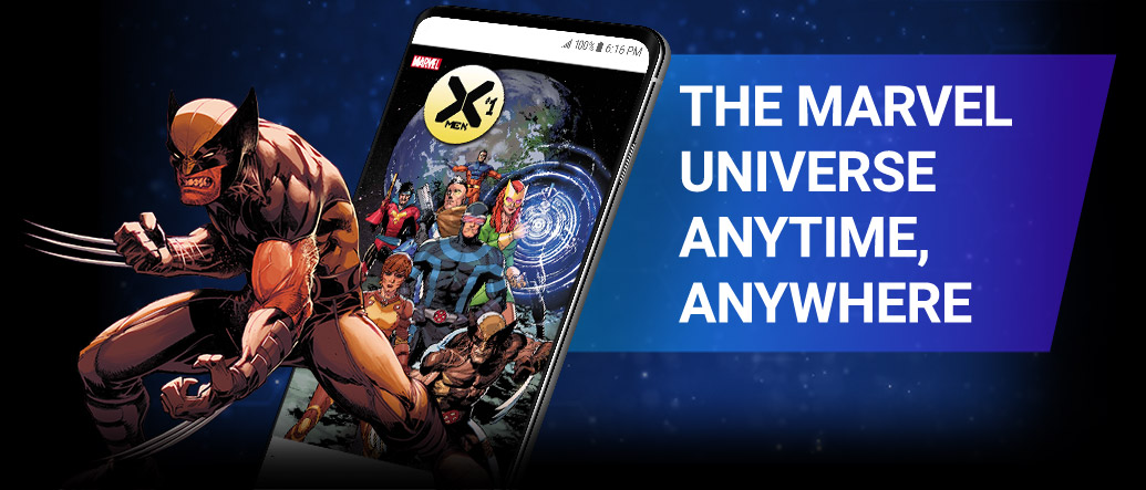 The Marvel Universe Anytime, Anywhere. An Image of Wolverine next to a cell phone.