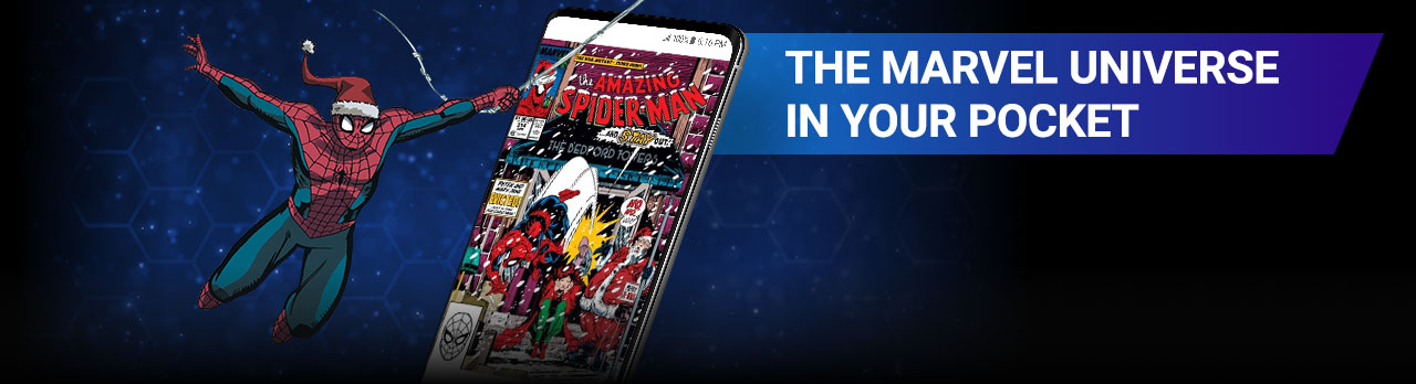 The Marvel Universe In Your Pocket. Image of Spider-Man swinging in a Santa Hat beside screenshot of a comic page within the app.