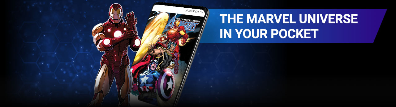 The Marvel Universe In Your Pocket. Image of Iron Man beside screenshot of a comic page within the app.