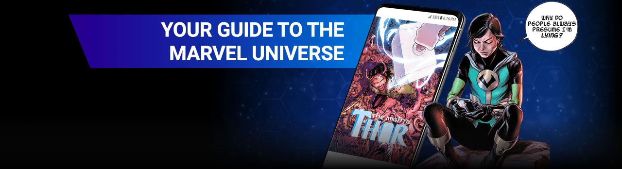 YOUR GUIDE TO THE MARVEL UNIVERSE. From sweeping tales of Asgard to the Avengers' best battles, read blockbuster stories starring Loki, Thor, and the Avengers. Kid Loki with comic covers.