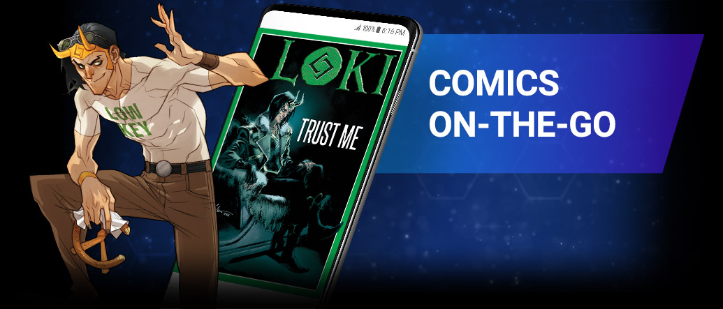 COMICS ON-THE-GO. Have instant access to 29,000+ comics, from brand-new series to entire classic runs, all in your pocket! Loki with comic covers.