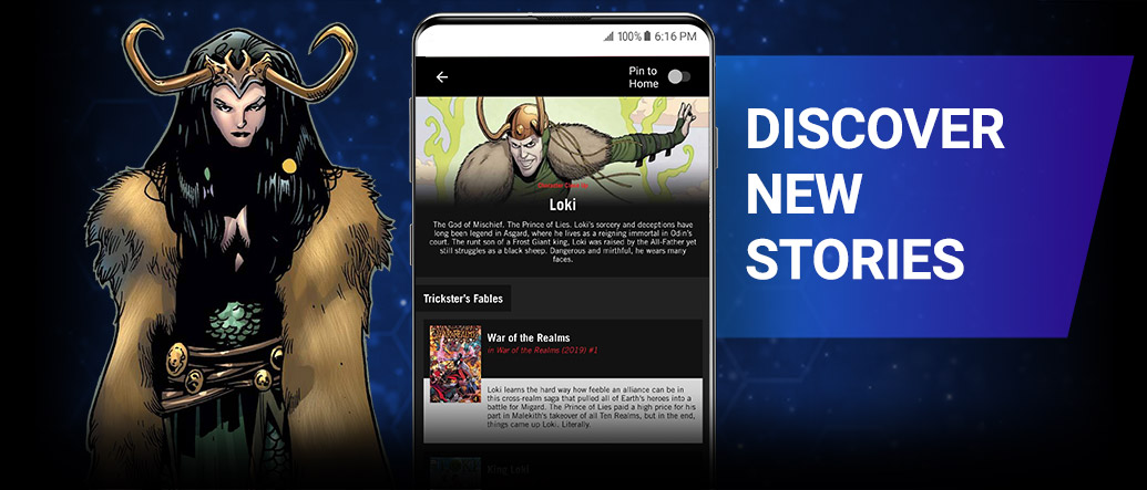 DISCOVER NEW STORIES. Lady Loki with comic.