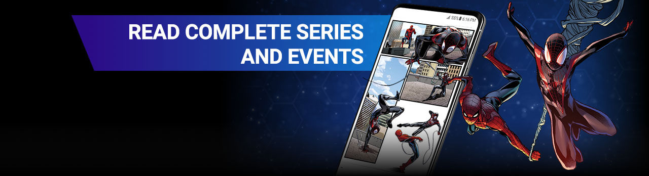 Read complete series and events. Swinging Spider-Man, comic panel in phone.