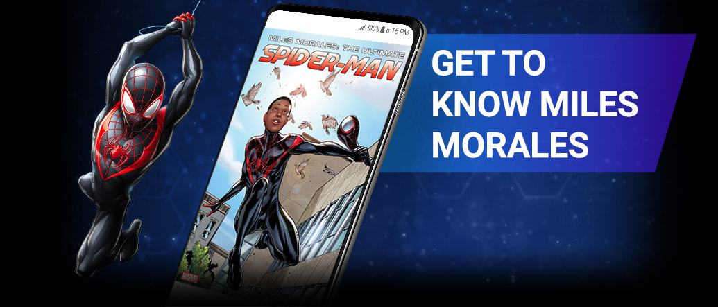 Get to know Miles Morales. Miles in black suit swinging on web.