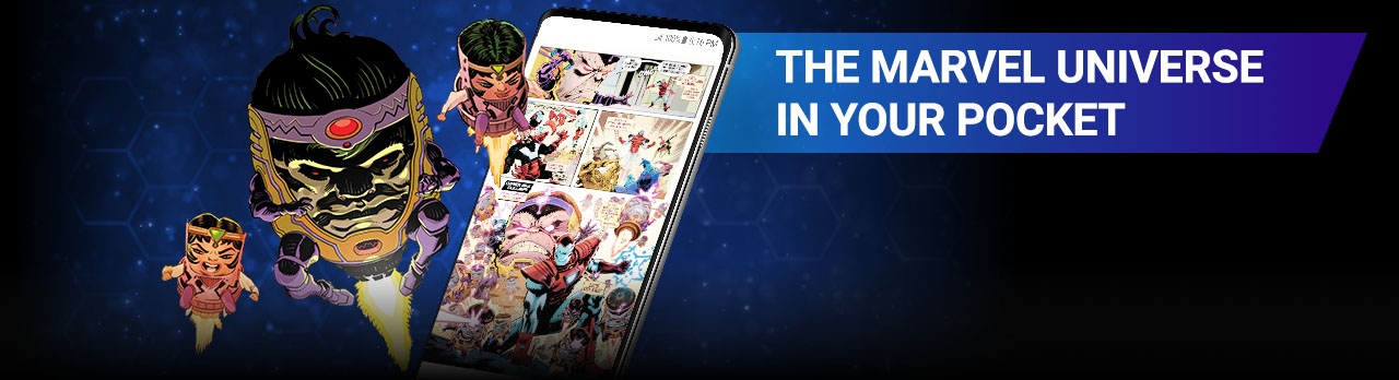 The Marvel Universe In Your Pocket. Image of M.O.D.O.K.beside screenshot of a comic page within the app.