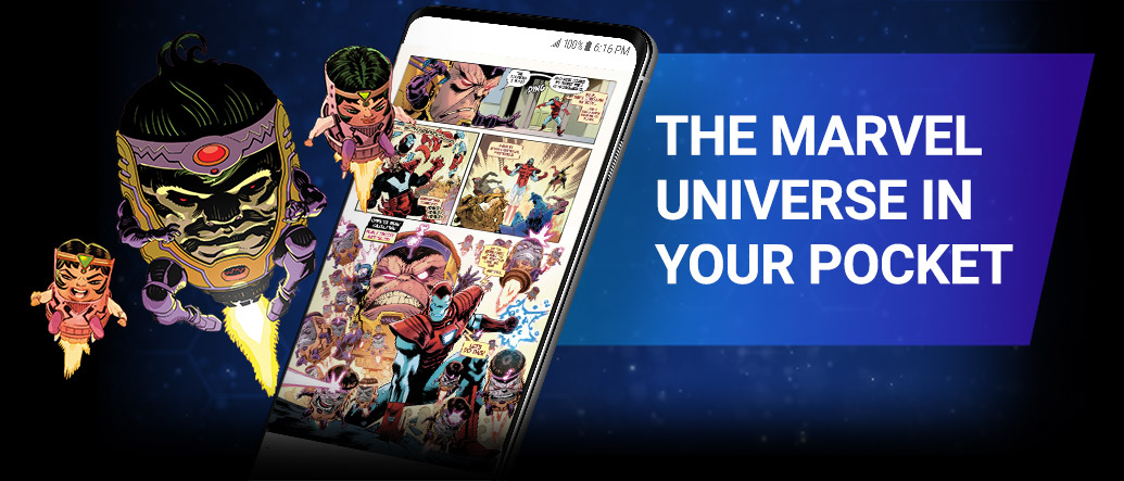 The Marvel Universe In Your Pocket. Image of M.O.D.O.K. beside screenshot of a comic page within the app.