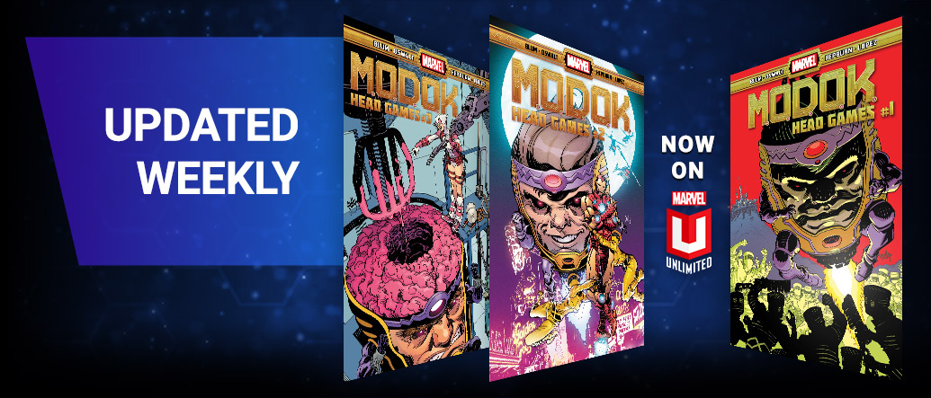 Updated Weekly. Three different M.O.D.O.K. comic covers.