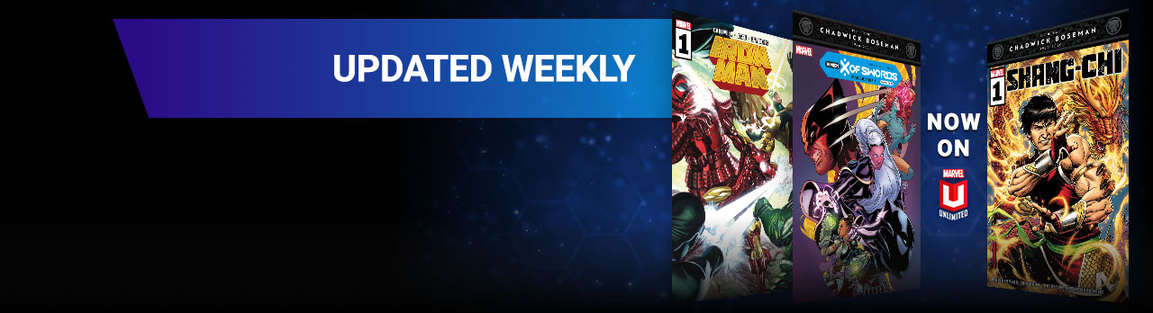 Updated Weekly. Three different comic covers: IRON MAN, X OF SWORDS AND SHANG-CHI.