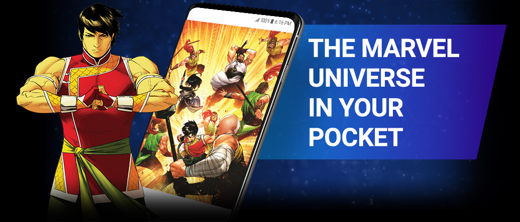 The Marvel Universe In Your Pocket. Image of Shang-Chi beside screenshot of a comic page within the app.