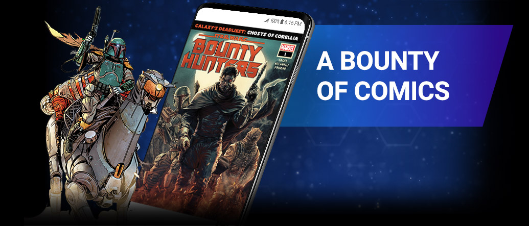 A bounty of comics: Boba Fett, bounty hunters.